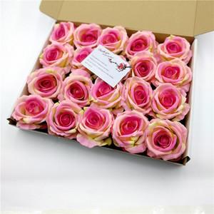 30 paño de seda Artificial Tea Rose Bud Cabeza de flor para la decoración de la boda DIY Corona Caja de regalo Scrapbooking Craft Fake Flower