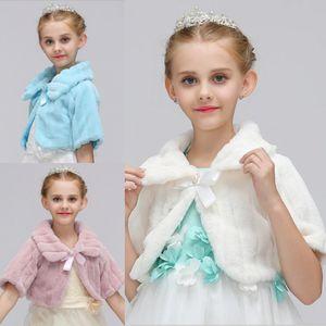 Brasão Blush Meninas Inverno aniversário Jacket Princesa meia luva bowknot Meninas da pele do falso do Cabo Manto casamento Shawl Cabo Para Meninas Tippet Crianças