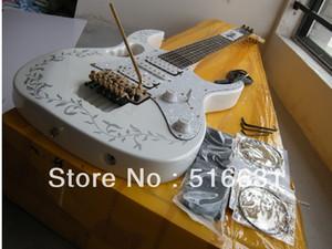 무료 배송 최고 품질의 새로운 스타일 IBZ JEM 7V 기타 7V 일렉트릭 기타 floyd 흰색으로 장미와 블랙 레이스 모자이크