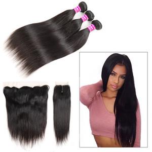 Bundles humano brasileño teje el pelo liso con Remy frontal sin procesar paquetes con cierre Accesorios granel extensiones del cabello humano de las tramas