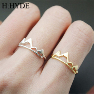 H:HYDE New Tiny Snow Mountain Ring Open Cuff Rings For Women Birthday Gifts Size 6.5 Adjustable Rock Climbing Jewelry Bijoux