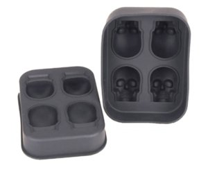 Nouveau design 3D crâne silicone Ice Cube Tray Moule pour Cocktails Whisky Bpa -Free Skull Whisky Ice Ice Pierres Mold