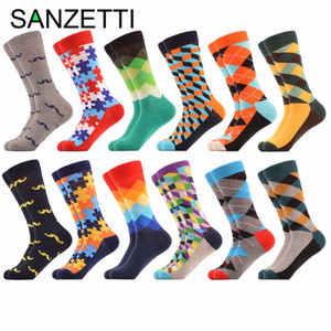 SANZETTI 12 Pairs/lot Funny Casual Chaussette Homme Crew Diamond Argyle Colorful Men's Dress Socks Combed Cotton Happy Socks