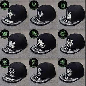 Hip-hop Baseball Caps Fluorescent Flat Sport Hats Luminous Casquette Peaked Cap Adjustable Wholesale Free Shipping 0719WH