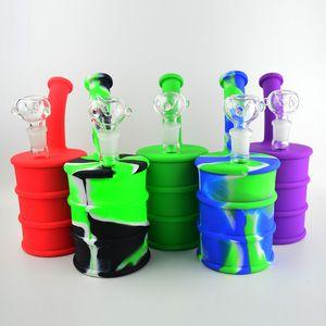 """Tubi Barrel silicone Bong Acqua 9"""" Portable Camouflage Silicone Oil Rigs staccabile Pipe Oil Unbreakable fumatori Concentrato tubo pollici"""