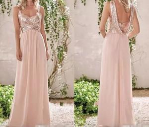 2020 New Rose Gold dama de honra Vestidos A Linha de Spaghetti Backless Sequins Chiffon baratos Long Beach Convidado de Casamento Vestido dama de honra Vestidos