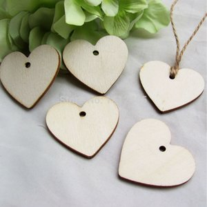 100Pcs Wooden Wood Love Heart Wedding Card Wish Tree Gift Tags +Jute String 40mm*37mm