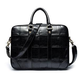 Neue Art und Weise Weinlese-Art Solid Black Business Messenger Bag PC Handge für Männer eleganter PU-Leder-Umhängetasche
