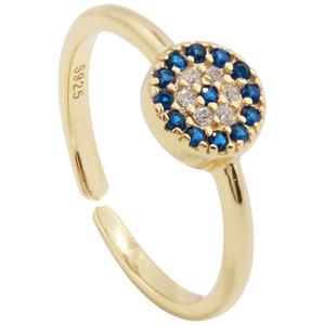 Anelli di forma dell'occhio diabolico d'argento 925 di alta qualità per le donne Anelli di cristallo austriaco bianco blu rotondo Anello di fidanzamento della fascia della zirconia CZ