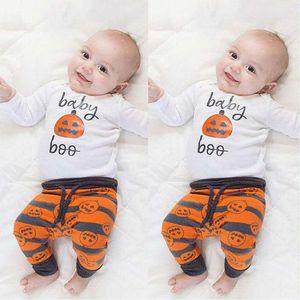 """Cadılar bayramı """"Bebek Boo"""" Baskı seti Yenidoğan Bebek Boys kabaklar Romper Pantolon Tayt Şapka Set Pamuk çocuklar uzun kollu kabak kıyafet Giysileri"""