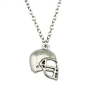 WYSIWYG 5 Pieces Metal Chain Necklaces Pendants Male Necklace Fashion Football Helmets 20x15mm N2-B11436