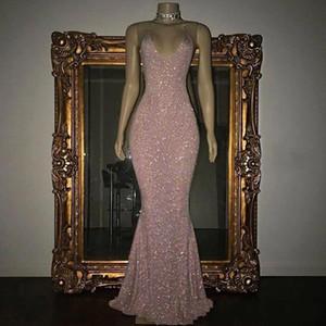 2020 Sparkly pailletée sirène Robes de bal Sexy Halter col en V manches parole longueur longue pas cher Prom Party Robes PORTER UN BA5415