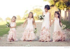 2020 Pink Холтер BOHO цветок девочки платья для венчания партии Backless оборками Hand Made Цветы оборками шифон этаж Длина платья Настраиваемый