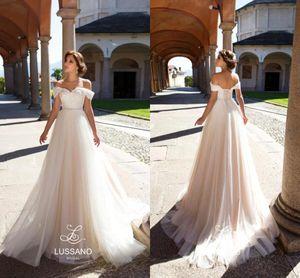 2019 Elegant Simple Off The Shoulder Wedding Dresses A Line Lace Applique With Sash High Waist Lace Up Wedding Party Bridal Gowns BA7443