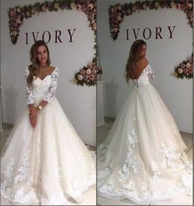 2018 Vintage Lace Appliques Wedding Dresses Romantic Princess Long Sleeves A-Line Chapel Sweep Train Bride Gown Robe De Mariage