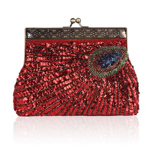 Handmade beaded embroidered bag retro banquet single shoulder diagonal package cheongsam dress bag