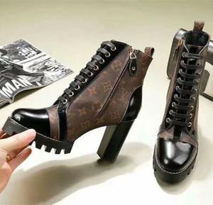 İkonik Bakış! Markalı Kadın Patent Tuval Yıldız Trail Ayak Bileği Çizme Tasarımcı Lady Siyah Deri Trim Fermuar Kauçuk Taban Çizmeler