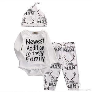 2018 herbst stil baby kleidung mode baumwolle babykleidung set beiläufige deer romper + pants + hat 3 stücke sets