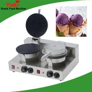 Nouveau commercial double tête de crème glacée fabricant de cône machine à crème glacée gaufre machine à papier rond gaufre cone maker en acier inoxydable