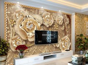 Papel de parede personalizado para paredes do quarto Sala de estar pano de fundo TV fundo papel de parede Jóias flores papéis de parede decoração de casa 3d
