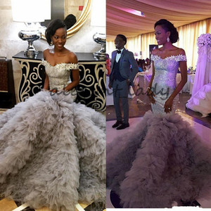 Sexy South African Mermaid Ruffles Skirt Wedding Dresses 2018 Modest Off-shoulder Lace Shiny Top Trumpet Nigerian Bridal Wear Gown