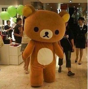 2018 Venta de la fábrica caliente Janpan Rilakkuma oso Disfraces de la mascota Tamaño adulto traje de oso de dibujos animados de alta calidad Fiesta de Halloween envío gratis