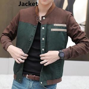 Autunno Men coreano Jacket Coltivare moralità breve paragrafo Color Matching rivestimento del collare uniforme maschile di baseball Plus Size M-5XL Patchwork Fre