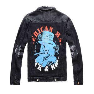 Designer Luxury Mens Stickerei Graffiti Muster Tiger Moto Biker Schwarz Denim Tiger Stickmuster Jeans Jacke Jacke Mäntel Hip Hop Streetwear