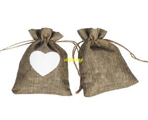 500pcs / lot sacchetti di caramelle di regalo naturale della tela da imballaggio dell'annata regalo di favore di cerimonia nuziale del sacchetto del regalo del sacchetto del regalo di amore del sacchetto del regalo di cerimonia nuziale
