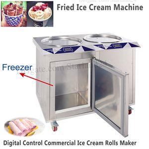55 см Двойные кастрюли Roll Ice Cream Machine Rolled Fried Ice Yogurt Machine со встроенным морозильником Brand New