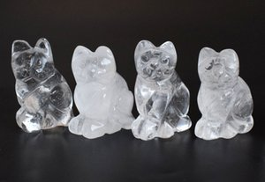 1.5 인치 높이 작은 크기 자연 맑은 석영 조각 된 크리스탈 Reiki 치유 럭키 귀여운 고양이 동상