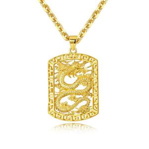 Fly Dragon Pattern Anhänger Halskette Kette 18k Gelbgold gefüllt solide gut aussehend Mens Geschenk Statement Schmuck