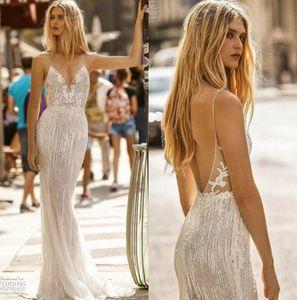 Gali Karten 2019 머메이드 웨딩 드레스 스파게티 레이스 웨딩 드레스 Floor Length Backless Counrty Bridal Dress robe de mariée