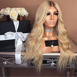 Sintetico bionda lunga parrucca per le donne Glueless Ombre Biondi Colore scuro Root sintetico Nessuno Lace Front Wigs