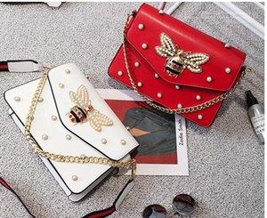 sac à main de marque facto belle chaîne strass sac élégant femme abeille sac à bandoulière en cuir décoratif femmes sac petite perle fraîche printemps