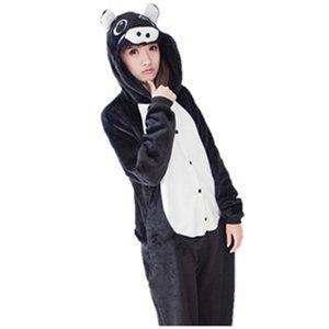 симпатичные черный свинья Onesie животных костюм пижамы пижамы косплей пижамы костюм Хэллоуин Рождество девушка Леди женщины мультфильм животных комбинезон