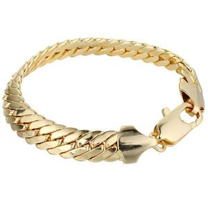 Mens Womens Bracelet 단색 손목 체인 18k 옐로우 골드 채워진 헤링본 팔찌 23cm Long Classic Style Gift