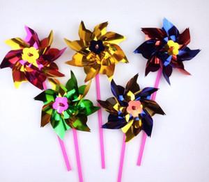 Novedad colorida Juguete de plástico Molino de viento Molino de viento Auto-montaje Jardín Césped Fiesta Juguete al aire libre Regalo para niños niñas Bebé