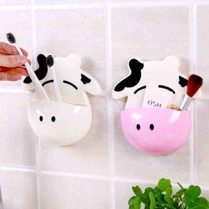 MENGXIANG 1pc arrivo Bagno spazzolino appendiabiti Scatola di immagazzinaggio prodotti per il bagno Cartoon mucca articoli vari