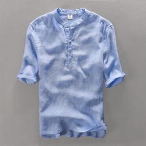 100% Lin hommes Shirt Slim Fit chemises de tenue décontractée de haute qualité Hommes d'été T-shirt manches courtes pour hommes Camisa Masculina Camisa
