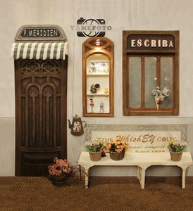 5x7ft винил старинные улица магазин Двери окна открытый фон фотостудия фон