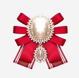 Colégio Britânico Vento Grande Pérola Gravata Vintage Broche Antigo Tecido Corsage Pin Shirt Mulheres Acessórios