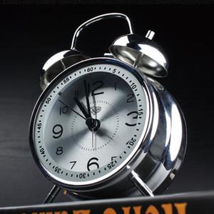 Металл творческий двойной колокол будильник mute alarm table световой электронный кварцевый будильник студентов, чтобы бороться колокол