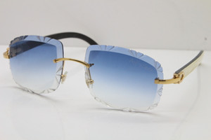 Бесплатная доставка Солнцезащитные очки Очки Self-Made ВС Buffalo объектив T8200762 Белый Черный Резные Horn Unisex Rimless Винтажные солнцезащитные очки Внутри Mfarq