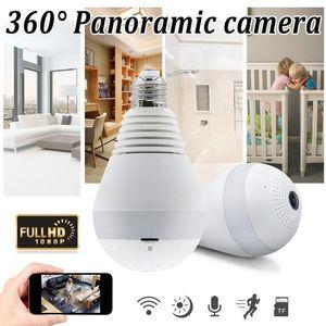와이파이 전구 보안 카메라 2MP 1080P 360 ° 파노라마 감시 홈 보안 카메라 시스템 무선 IP CCTV 베이비 모니터 카메라