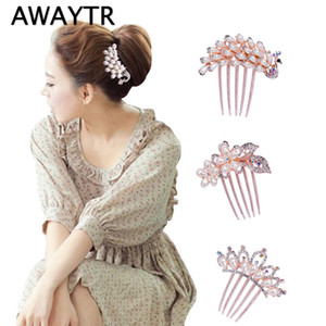 AWAYTR Elegant Peacock Rose Gold Pearls Peinetas de pelo Rhinestones Flor boda Crystal Hair Clips Accesorios nupciales
