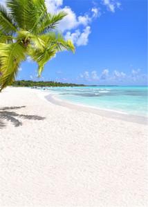 Fondali fotografici a tema spiaggia Stampato Palm Tree Blue Sky White Sand Paesaggio al mare Summer Holiday Wedding Photo Sfondi per Studio