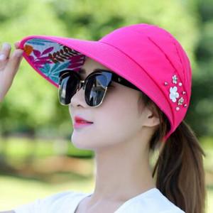 Moda con sombreros de ala ancha para dama con flor de perla sombreros de playa chica paja protección solar Sombrero para el sol plegable Suncreen Cap Top Caps 14 colores