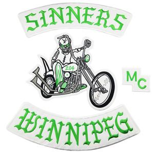 새로운 도착 엠씨 SINNERS 자수 패치 오토바이 클럽 VEST 아우트라인 비커 엠씨 재킷 펑크 철에 패치 무료 배송