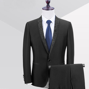 Black Formal Wedding Men Suits 2018 One Button Blazer Shawl Lapel Two Piece Jacket Pants Groom Tuxedos
